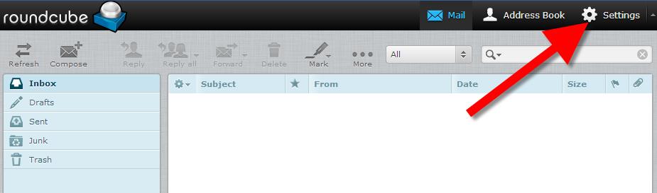 roundcube settings webmail